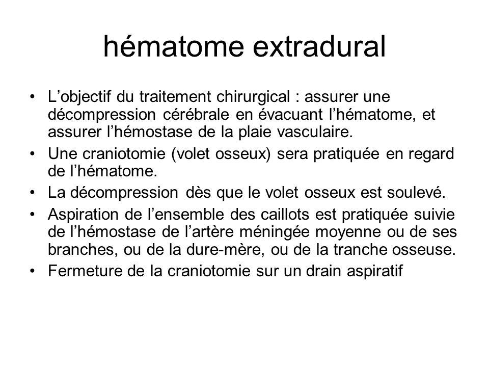 hématome extradural Lobjectif du traitement chirurgical : assurer une décompression cérébrale en évacuant lhématome, et assurer lhémostase de la plaie