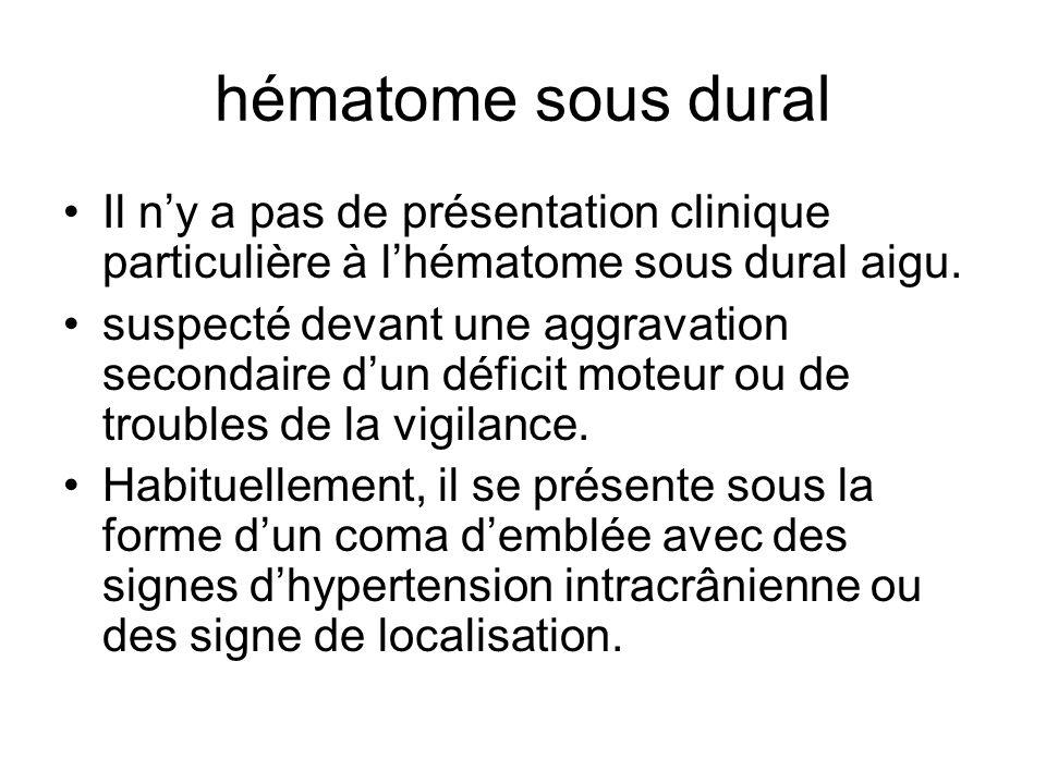 hématome sous dural Il ny a pas de présentation clinique particulière à lhématome sous dural aigu. suspecté devant une aggravation secondaire dun défi
