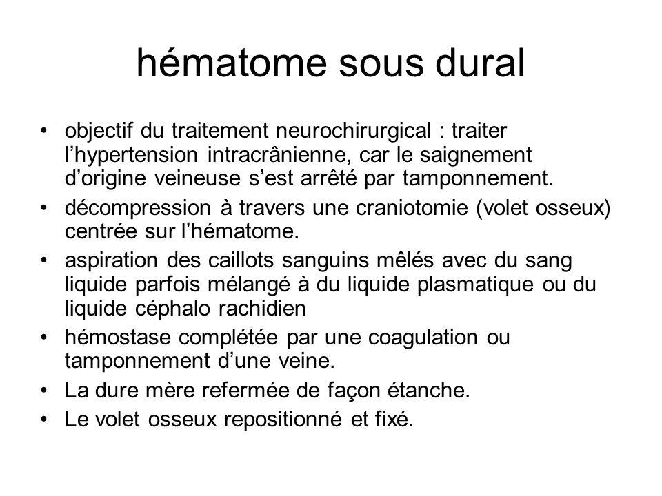 hématome sous dural objectif du traitement neurochirurgical : traiter lhypertension intracrânienne, car le saignement dorigine veineuse sest arrêté pa