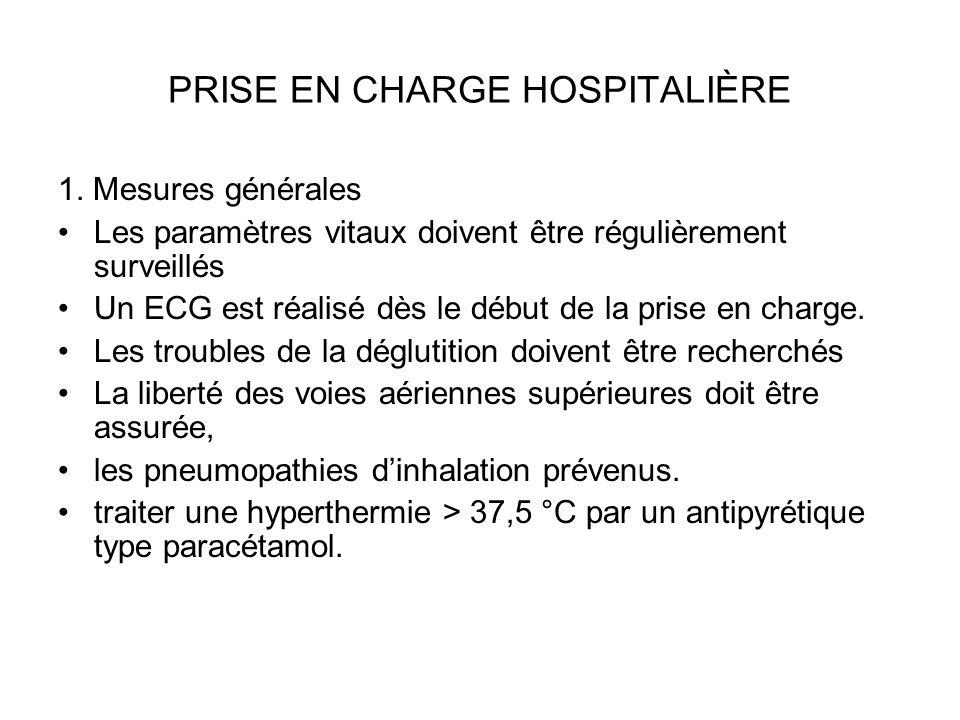 PRISE EN CHARGE HOSPITALIÈRE 1. Mesures générales Les paramètres vitaux doivent être régulièrement surveillés Un ECG est réalisé dès le début de la pr