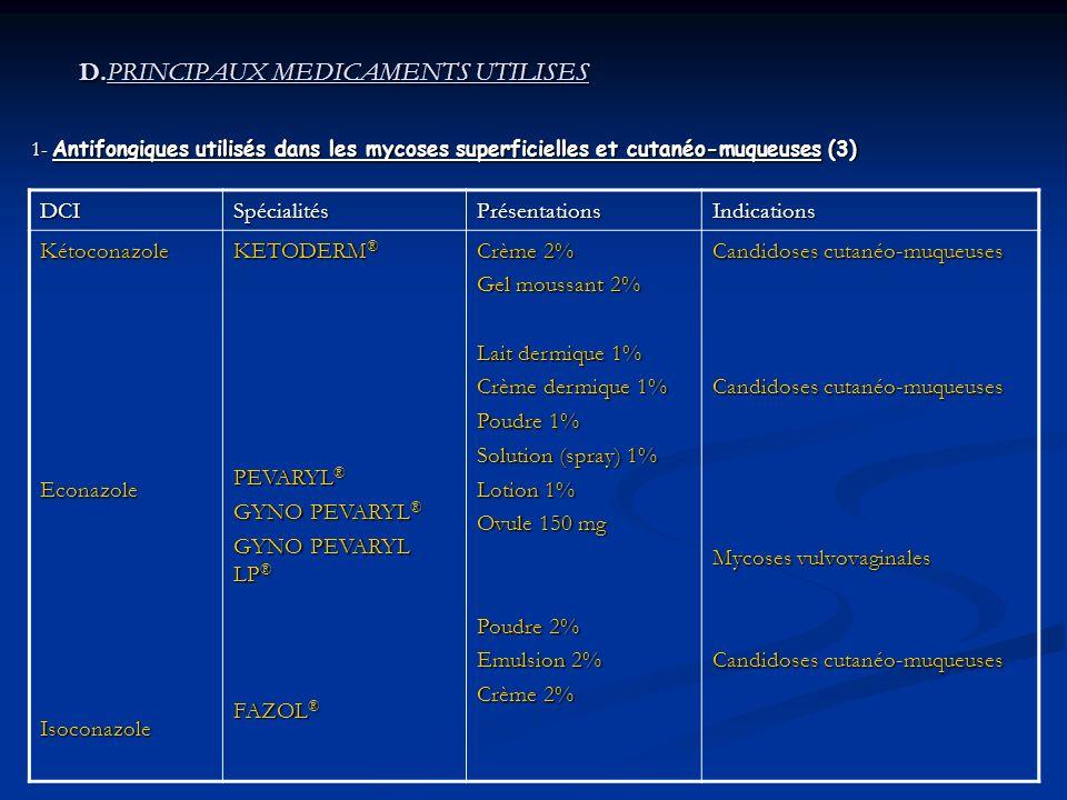 D.PRINCIPAUX MEDICAMENTS UTILISES D.PRINCIPAUX MEDICAMENTS UTILISES 1- Antifongiques utilisés dans les mycoses superficielles et cutanéo-muqueuses (3) DCISpécialitésPrésentationsIndications KétoconazoleEconazoleIsoconazole KETODERM ® PEVARYL ® GYNO PEVARYL ® GYNO PEVARYL LP ® FAZOL ® Crème 2% Gel moussant 2% Lait dermique 1% Crème dermique 1% Poudre 1% Solution (spray) 1% Lotion 1% Ovule 150 mg Poudre 2% Emulsion 2% Crème 2% Candidoses cutanéo-muqueuses Mycoses vulvovaginales Candidoses cutanéo-muqueuses