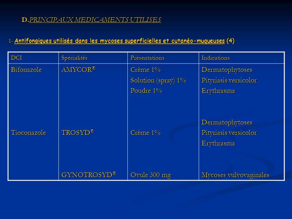 D.PRINCIPAUX MEDICAMENTS UTILISES D.PRINCIPAUX MEDICAMENTS UTILISES 1- Antifongiques utilisés dans les mycoses superficielles et cutanéo-muqueuses (4) DCISpécialitésPrésentationsIndications BifonazoleTioconazole AMYCOR ® TROSYD ® GYNOTROSYD ® Crème 1% Solution (spray) 1% Poudre 1% Crème 1% Ovule 300 mg Dermatophytoses Pityriasis versicolor ErythrasmaDermatophytoses Erythrasma Mycoses vulvovaginales
