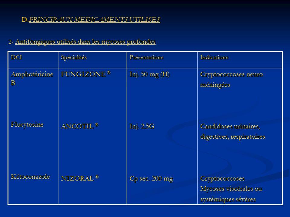 D.PRINCIPAUX MEDICAMENTS UTILISES D.PRINCIPAUX MEDICAMENTS UTILISES 2- Antifongiques utilisés dans les mycoses profondes DCISpécialitésPrésentationsIndications Amphotéricine B FlucytosineKétoconazole FUNGIZONE ® ANCOTIL ® NIZORAL ® Inj.