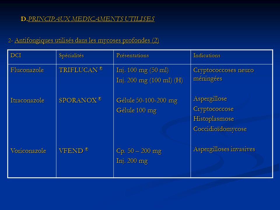 D.PRINCIPAUX MEDICAMENTS UTILISES D.PRINCIPAUX MEDICAMENTS UTILISES 2- Antifongiques utilisés dans les mycoses profondes (2) DCISpécialitésPrésentationsIndications FluconazoleItraconazoleVoriconazole TRIFLUCAN ® SPORANOX ® VFEND ® Inj.