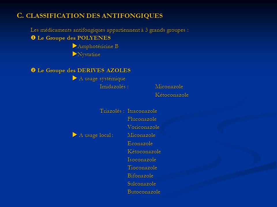 C. CLASSIFICATION DES ANTIFONGIQUES Les médicaments antifongiques appartiennent à 3 grands groupes : Le Groupe des POLYENES Le Groupe des POLYENES Amp