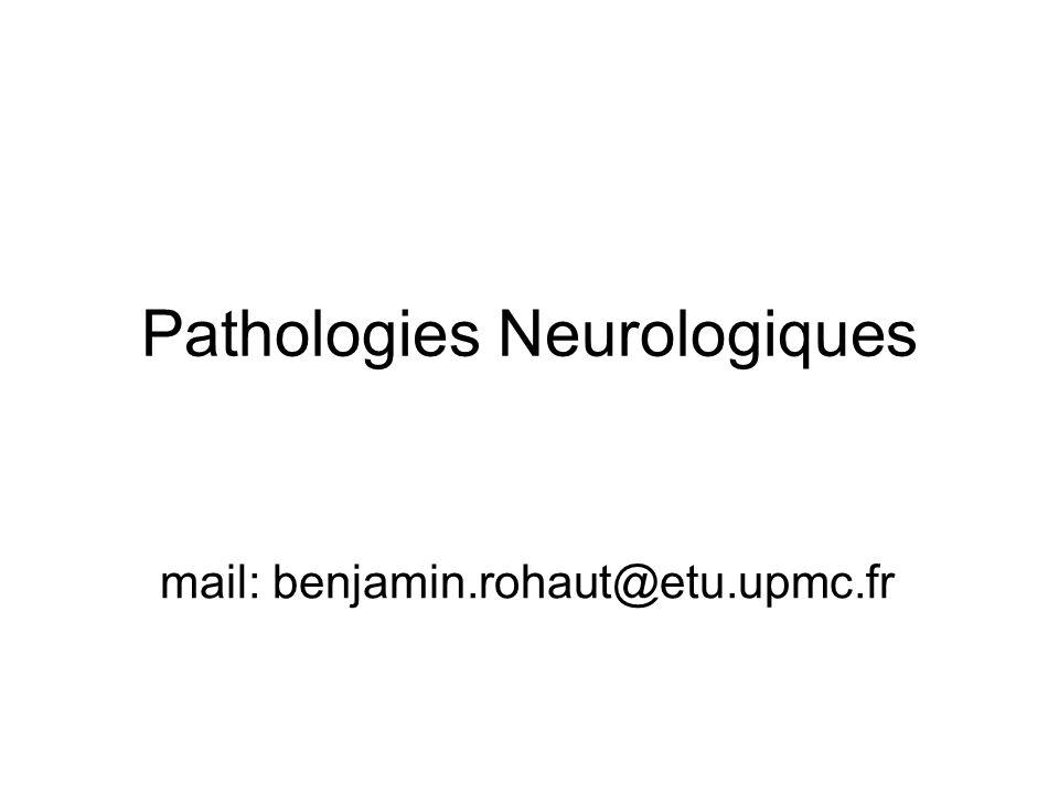Plan: Maladie de Parkinson Maladie dAlzheimer Céphalées, Migraine Sclérose en plaque Méningites Épilepsie (Creutzfeldt-Jakob) Myopathies Polyneuropathies Syndrome de Guillain Barré SLA Paralysie faciale
