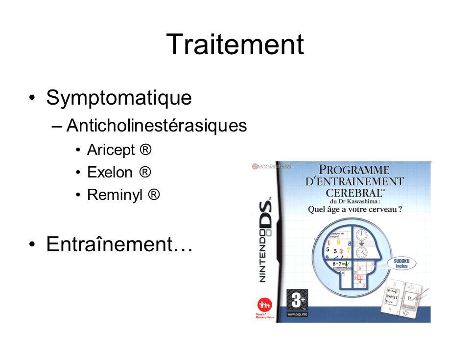 Traitement Symptomatique –Anticholinestérasiques Aricept ® Exelon ® Reminyl ® Entraînement…