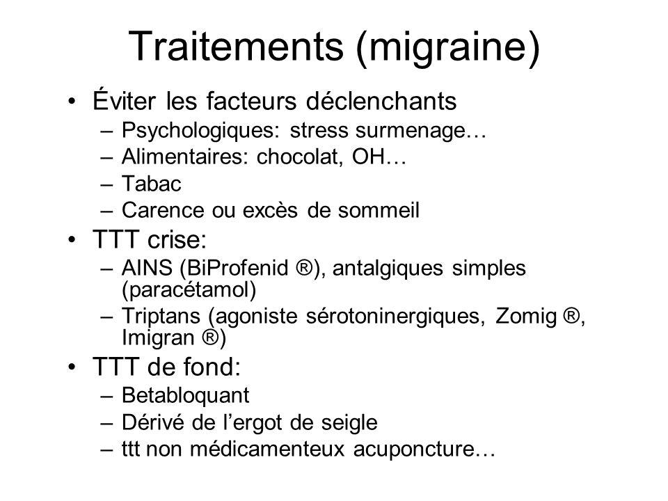 Traitements (migraine) Éviter les facteurs déclenchants –Psychologiques: stress surmenage… –Alimentaires: chocolat, OH… –Tabac –Carence ou excès de so