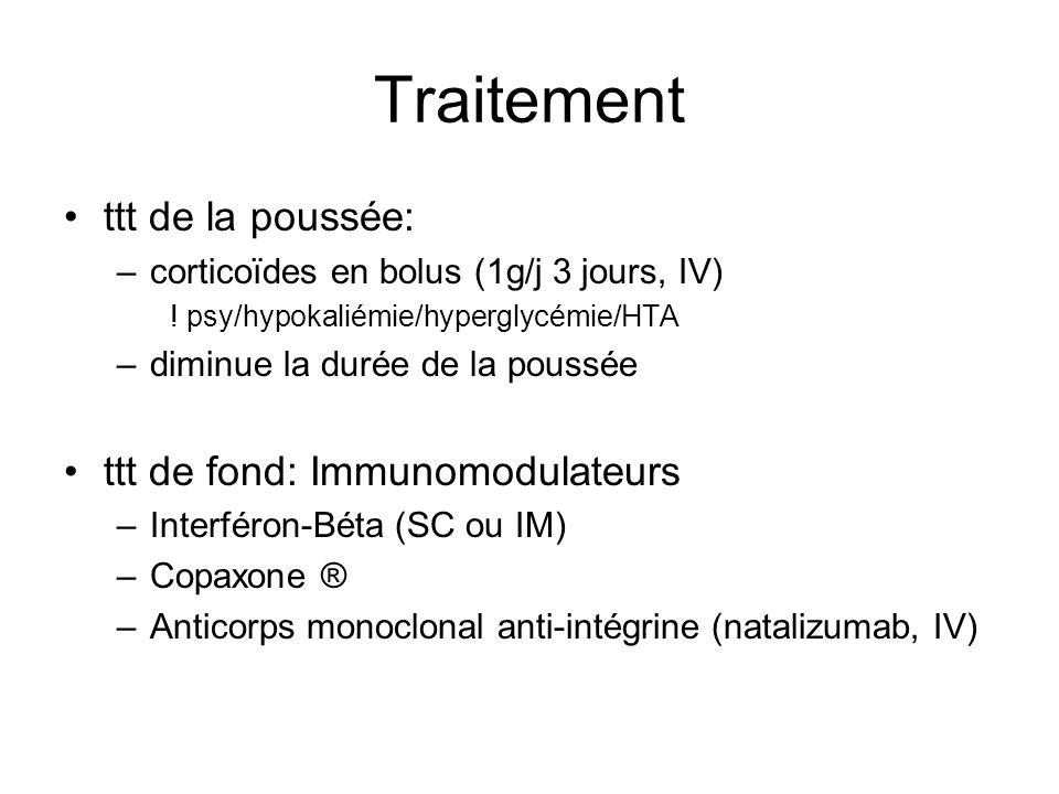Traitement ttt de la poussée: –corticoïdes en bolus (1g/j 3 jours, IV) ! psy/hypokaliémie/hyperglycémie/HTA –diminue la durée de la poussée ttt de fon