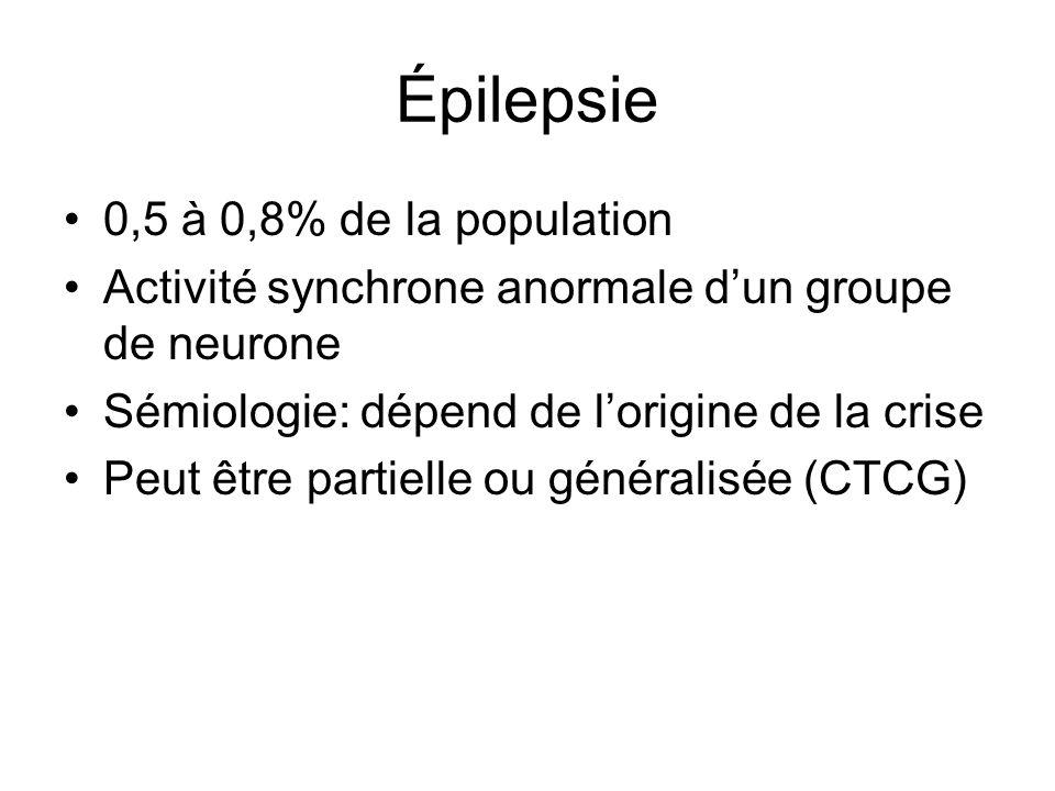 Épilepsie 0,5 à 0,8% de la population Activité synchrone anormale dun groupe de neurone Sémiologie: dépend de lorigine de la crise Peut être partielle