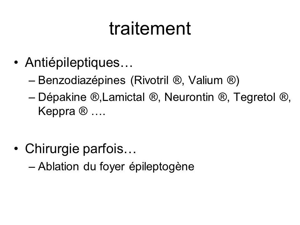 traitement Antiépileptiques… –Benzodiazépines (Rivotril ®, Valium ®) –Dépakine ®,Lamictal ®, Neurontin ®, Tegretol ®, Keppra ® …. Chirurgie parfois… –