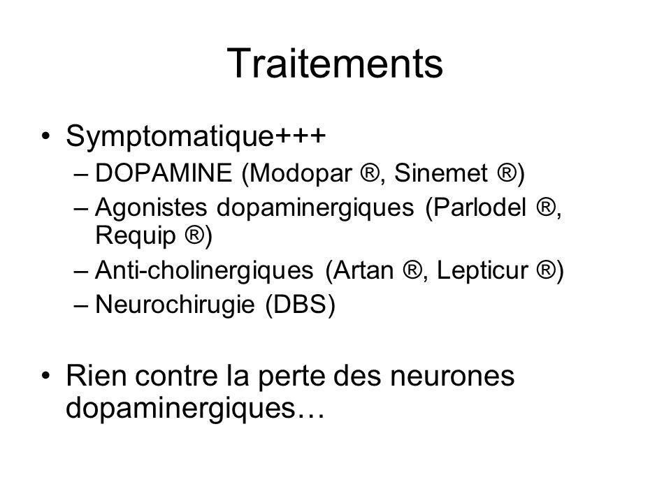 Traitements Symptomatique+++ –DOPAMINE (Modopar ®, Sinemet ®) –Agonistes dopaminergiques (Parlodel ®, Requip ®) –Anti-cholinergiques (Artan ®, Lepticu