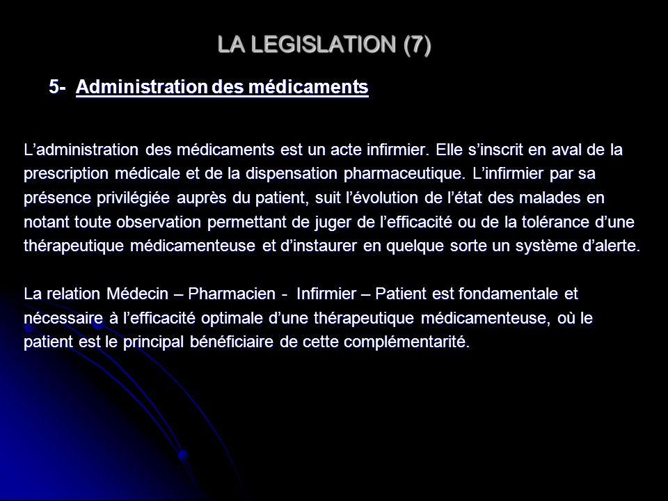 LA LEGISLATION (7) LA LEGISLATION (7) 5- Administration des médicaments Ladministration des médicaments est un acte infirmier. Elle sinscrit en aval d