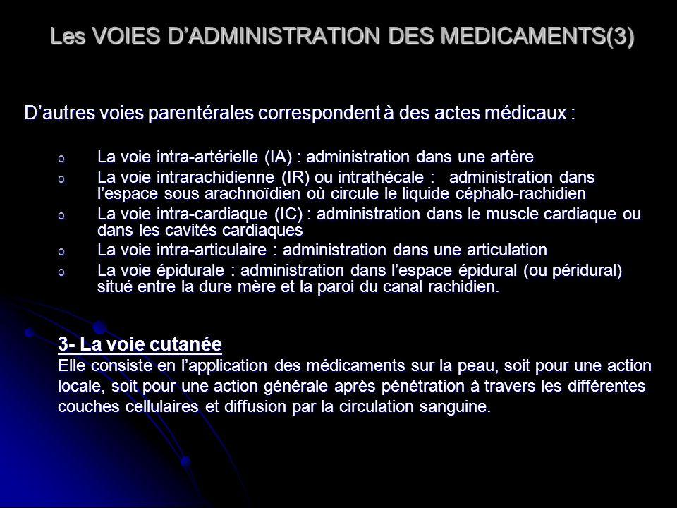 Les VOIES DADMINISTRATION DES MEDICAMENTS(3) Les VOIES DADMINISTRATION DES MEDICAMENTS(3) Dautres voies parentérales correspondent à des actes médicau