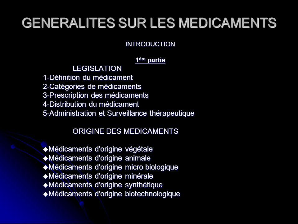 GENERALITES SUR LES MEDICAMENTS INTRODUCTION 1 ère partie LEGISLATION 1-Définition du médicament 2-Catégories de médicaments 3-Prescription des médica