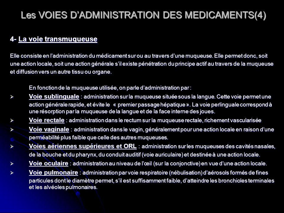 Les VOIES DADMINISTRATION DES MEDICAMENTS(4) Les VOIES DADMINISTRATION DES MEDICAMENTS(4) 4- La voie transmuqueuse Elle consiste en ladministration du