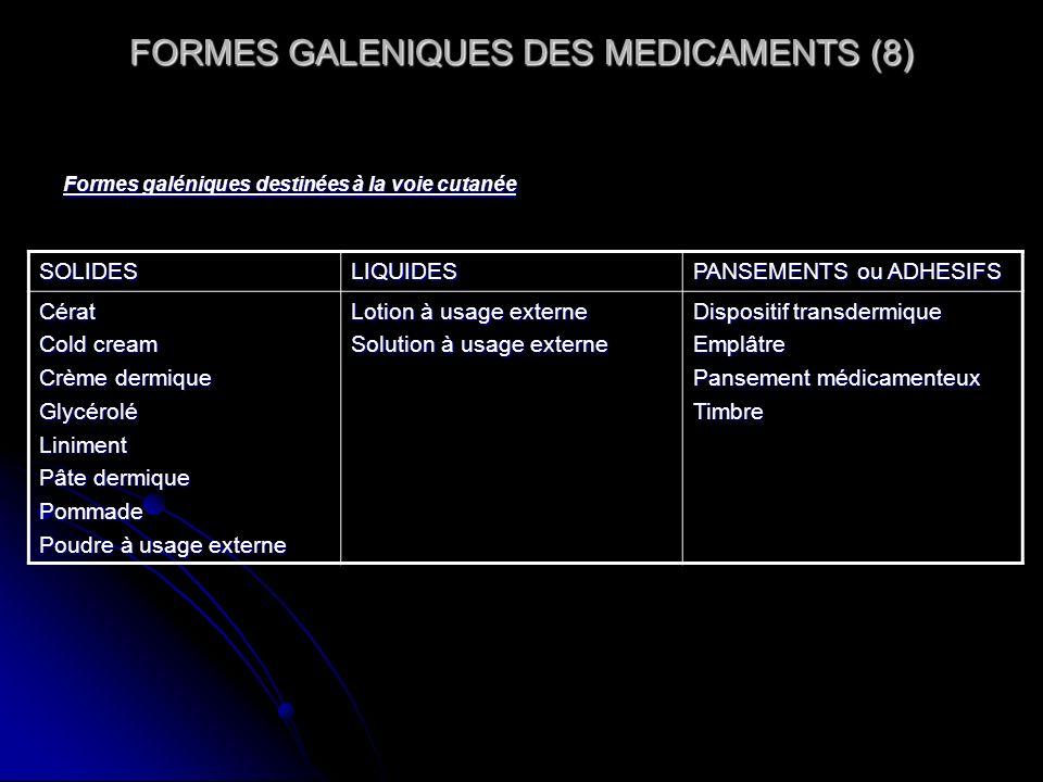 FORMES GALENIQUES DES MEDICAMENTS (8) Formes galéniques destinées à la voie cutanée SOLIDESLIQUIDES PANSEMENTS ou ADHESIFS Cérat Cold cream Crème derm