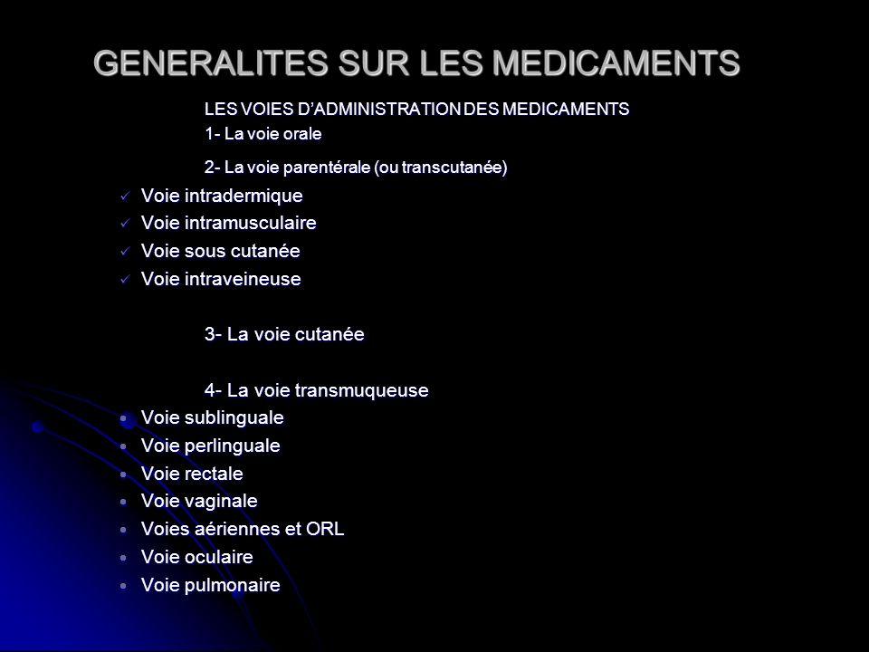 GENERALITES SUR LES MEDICAMENTS LES VOIES DADMINISTRATION DES MEDICAMENTS 1- La voie orale 2- La voie parentérale (ou transcutanée) Voie intradermique