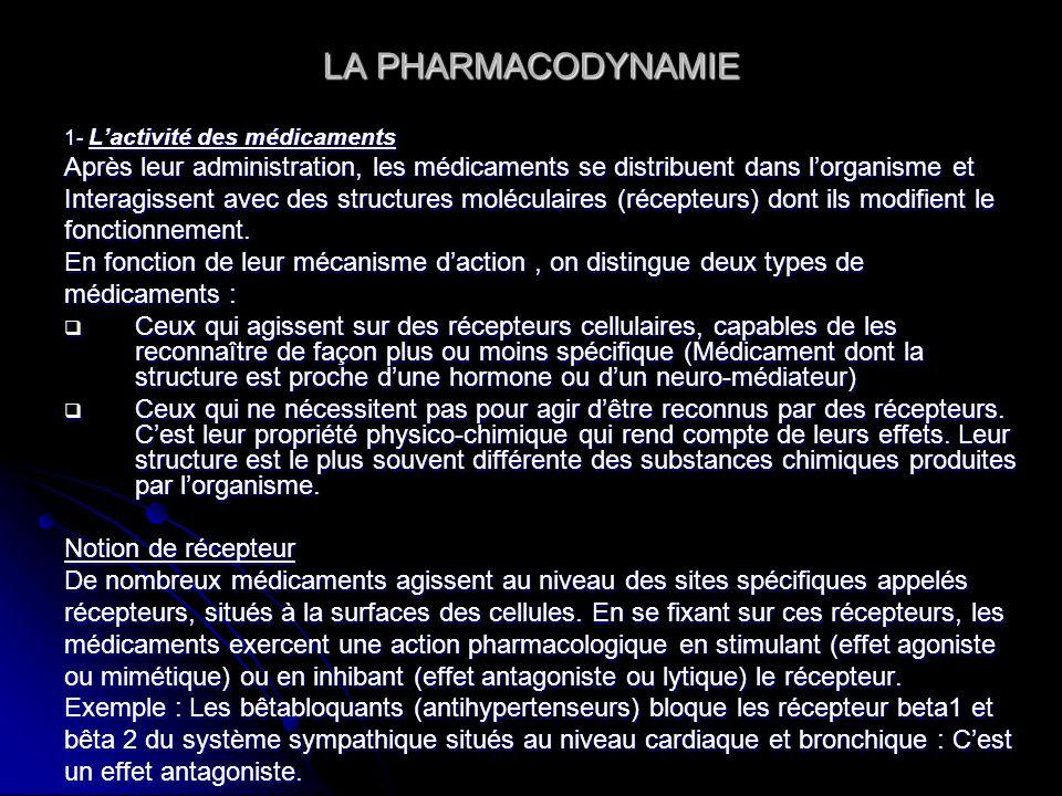 LA PHARMACODYNAMIE 1- Lactivité des médicaments Après leur administration, les médicaments se distribuent dans lorganisme et Interagissent avec des st