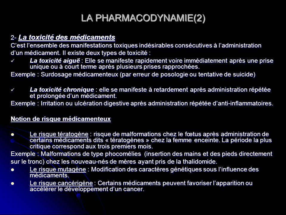 LA PHARMACODYNAMIE(2) 2- La toxicité des médicaments Cest lensemble des manifestations toxiques indésirables consécutives à ladministration dun médica
