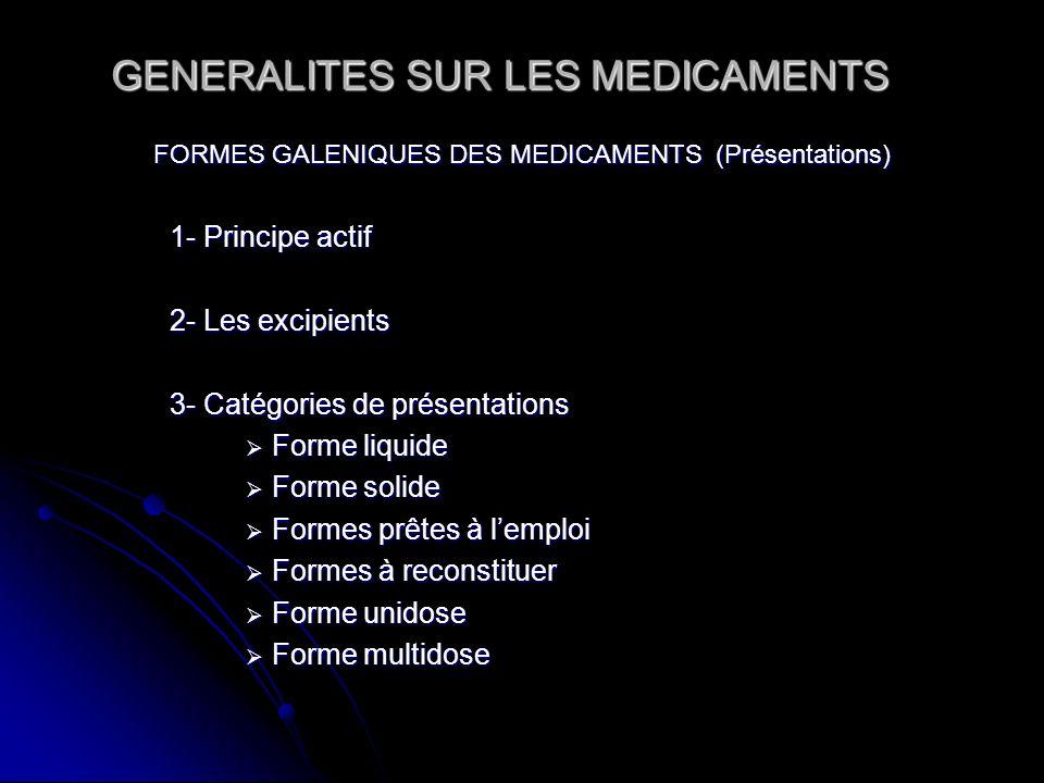 GENERALITES SUR LES MEDICAMENTS FORMES GALENIQUES DES MEDICAMENTS (Présentations) 1- Principe actif 2- Les excipients 3- Catégories de présentations F