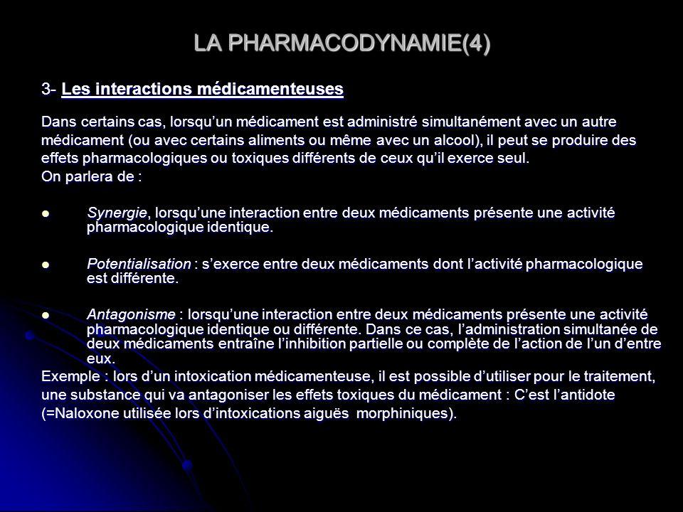 LA PHARMACODYNAMIE(4) 3- Les interactions médicamenteuses Dans certains cas, lorsquun médicament est administré simultanément avec un autre médicament