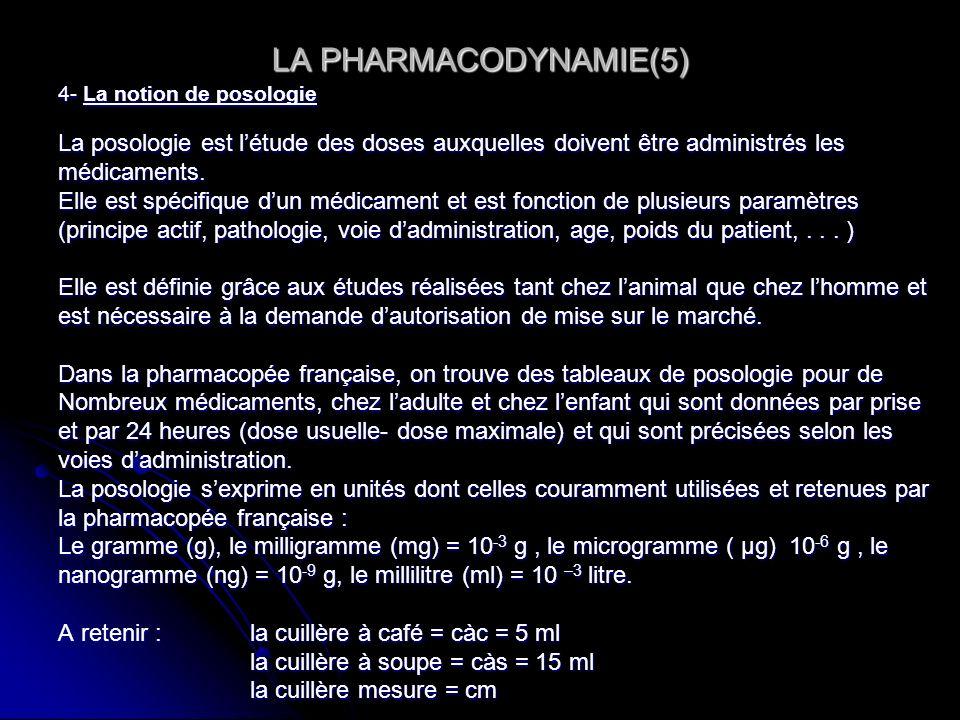 LA PHARMACODYNAMIE(5) 4- La notion de posologie La posologie est létude des doses auxquelles doivent être administrés les médicaments. Elle est spécif
