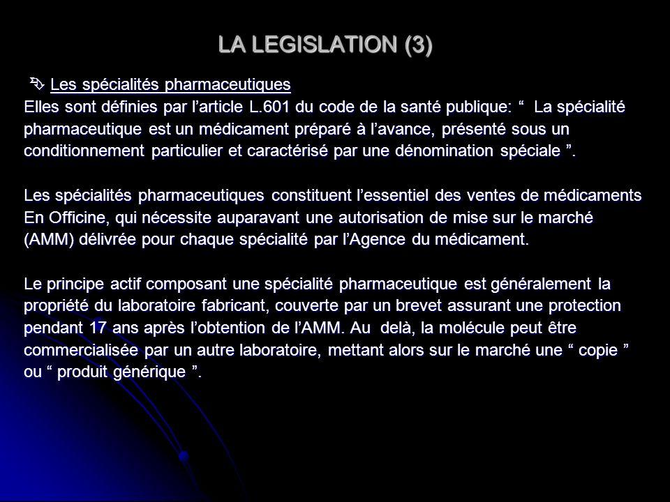 LA LEGISLATION (3) LA LEGISLATION (3) Les spécialités pharmaceutiques Les spécialités pharmaceutiques Elles sont définies par larticle L.601 du code d