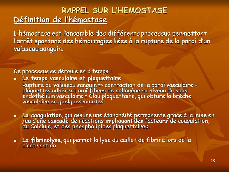 19 RAPPEL SUR LHEMOSTASE Définition de lhémostase Lhémostase est lensemble des différents processus permettant larrêt spontané des hémorragies liées à