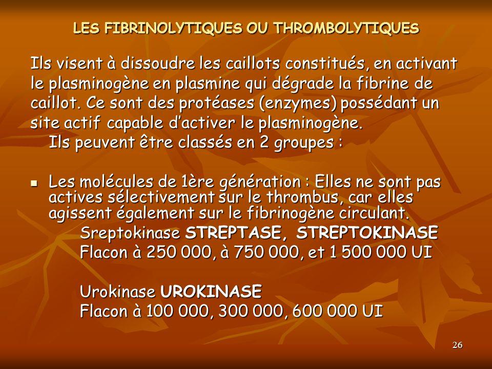26 LES FIBRINOLYTIQUES OU THROMBOLYTIQUES Ils visent à dissoudre les caillots constitués, en activant le plasminogène en plasmine qui dégrade la fibri