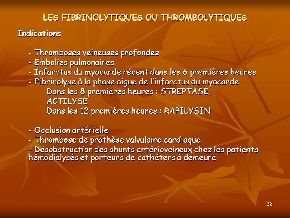 28 LES FIBRINOLYTIQUES OU THROMBOLYTIQUES Indications - Thromboses veineuses profondes - Embolies pulmonaires - Infarctus du myocarde récent dans les