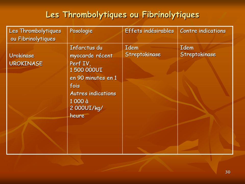 30 Les Thrombolytiques ou Fibrinolytiques Les Thrombolytiques ou Fibrinolytiques ou FibrinolytiquesPosologie Effets indésirables Contre indications Ur