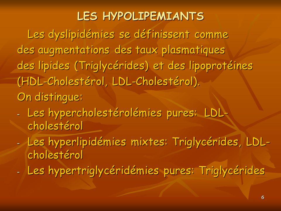6 LES HYPOLIPEMIANTS Les dyslipidémies se définissent comme des augmentations des taux plasmatiques des lipides (Triglycérides) et des lipoprotéines (