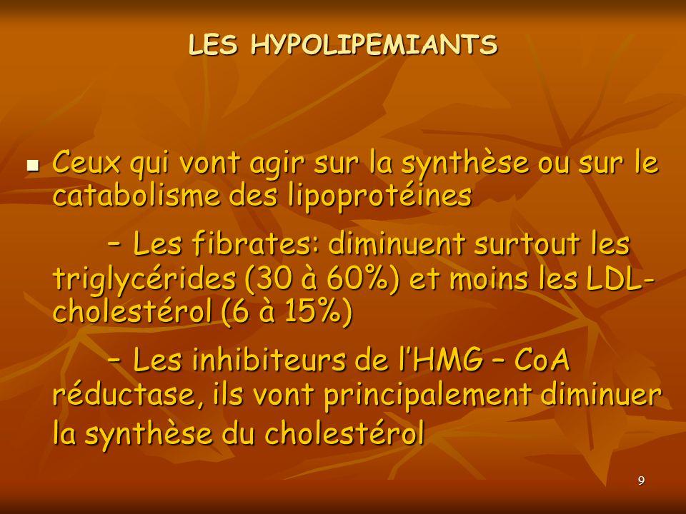9 LES HYPOLIPEMIANTS Ceux qui vont agir sur la synthèse ou sur le catabolisme des lipoprotéines Ceux qui vont agir sur la synthèse ou sur le catabolis