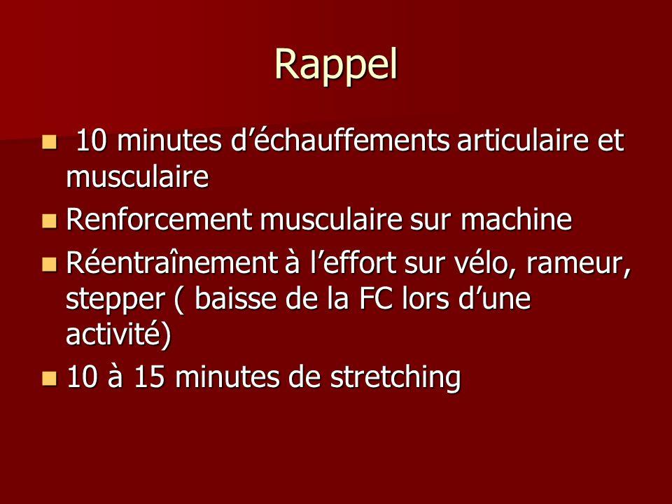 Rappel 10 minutes déchauffements articulaire et musculaire 10 minutes déchauffements articulaire et musculaire Renforcement musculaire sur machine Ren