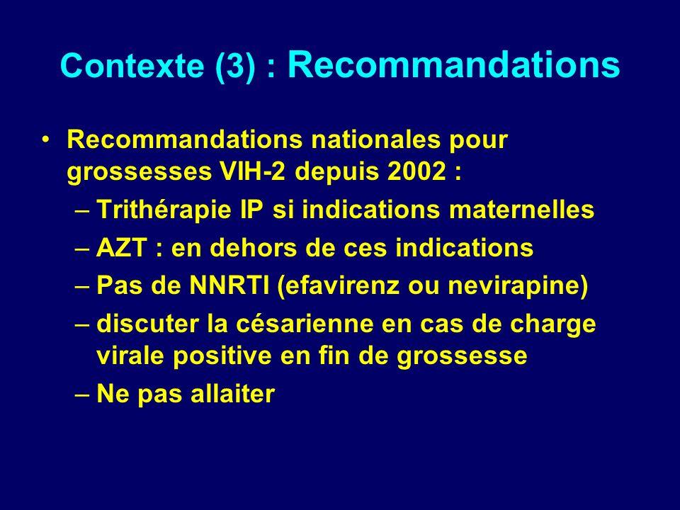 Contexte (3) : Recommandations Recommandations nationales pour grossesses VIH-2 depuis 2002 : –Trithérapie IP si indications maternelles –AZT : en dehors de ces indications –Pas de NNRTI (efavirenz ou nevirapine) –discuter la césarienne en cas de charge virale positive en fin de grossesse –Ne pas allaiter
