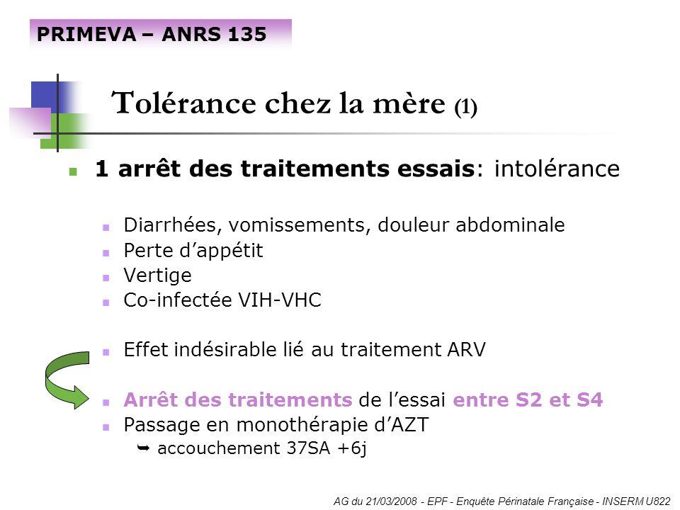 Tolérance chez la mère (1) 1 arrêt des traitements essais: intolérance Diarrhées, vomissements, douleur abdominale Perte dappétit Vertige Co-infectée