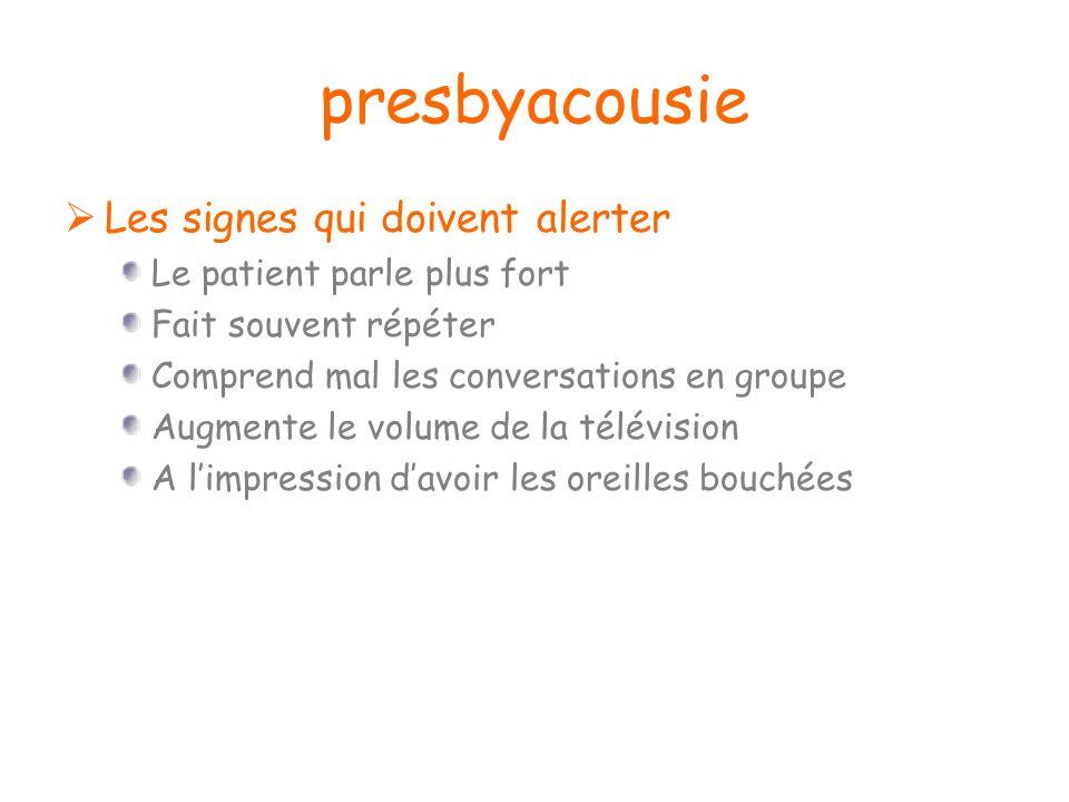 presbyacousie Les signes qui doivent alerter Le patient parle plus fort Fait souvent répéter Comprend mal les conversations en groupe Augmente le volu