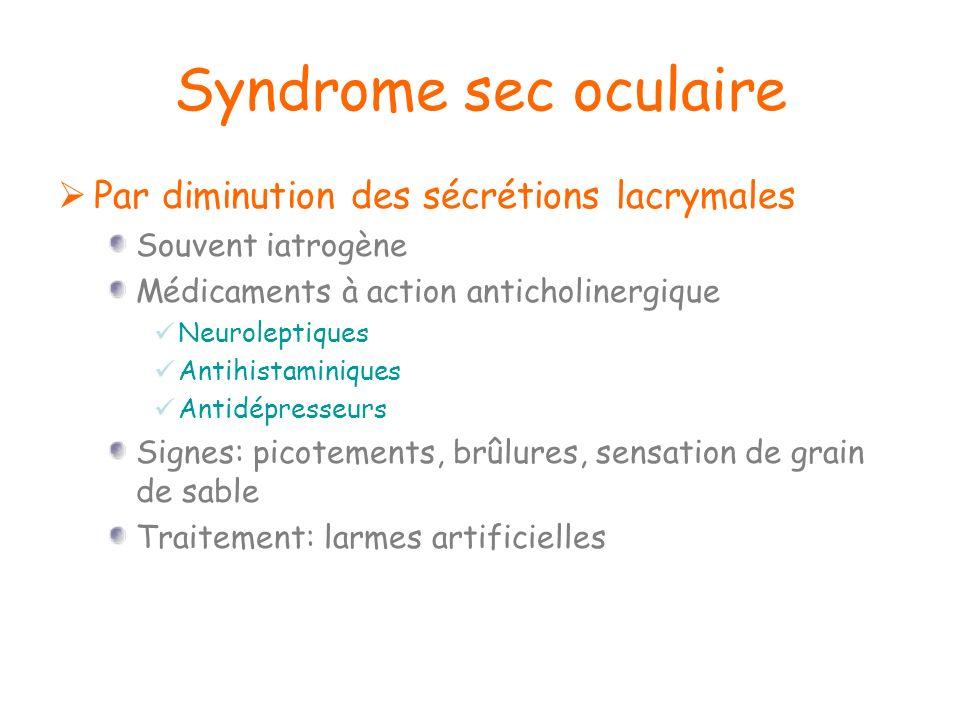 Syndrome sec oculaire Par diminution des sécrétions lacrymales Souvent iatrogène Médicaments à action anticholinergique Neuroleptiques Antihistaminiqu