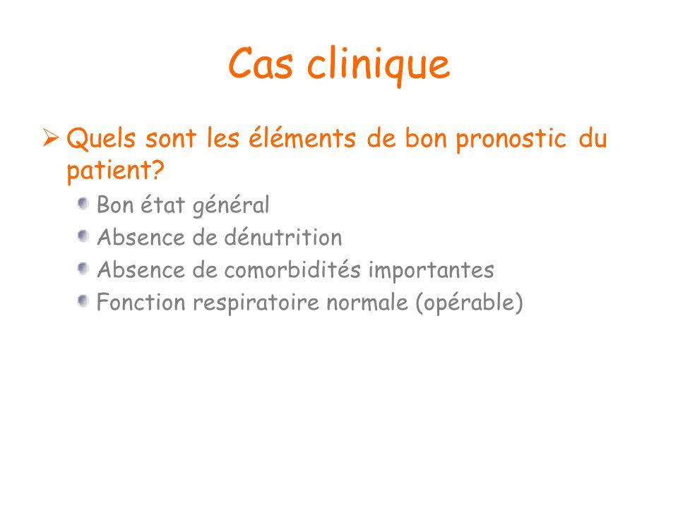 Cas clinique Quels sont les éléments de bon pronostic du patient? Bon état général Absence de dénutrition Absence de comorbidités importantes Fonction