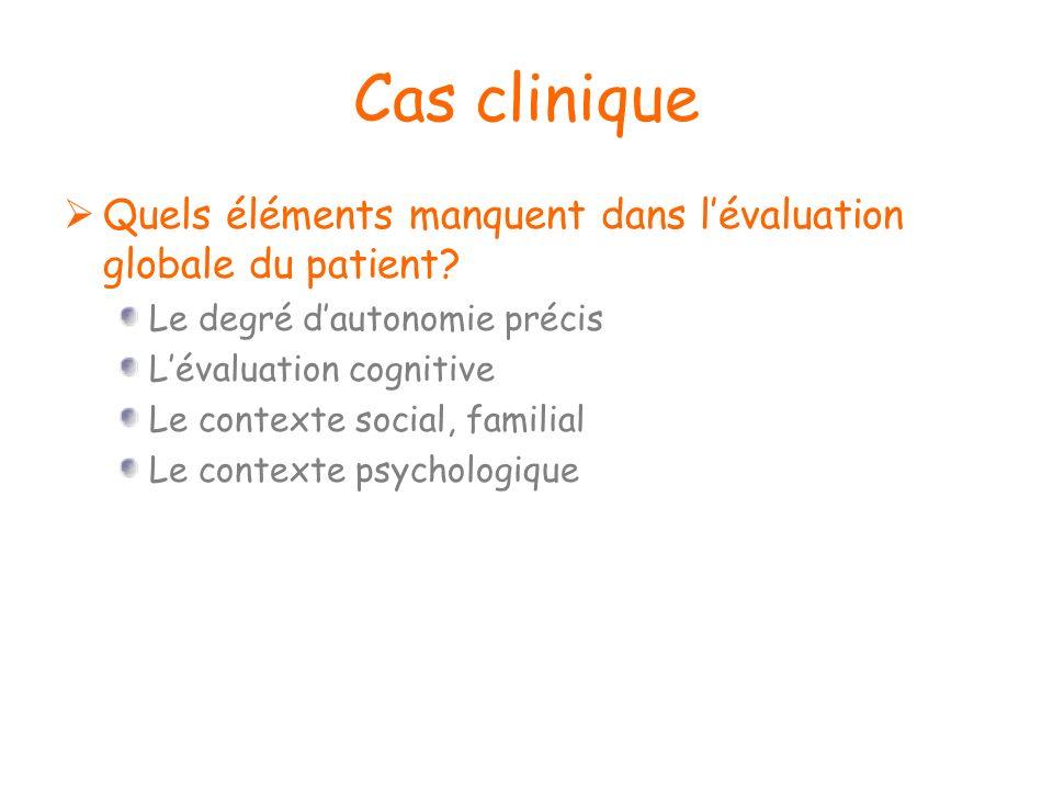 Cas clinique Quels éléments manquent dans lévaluation globale du patient? Le degré dautonomie précis Lévaluation cognitive Le contexte social, familia