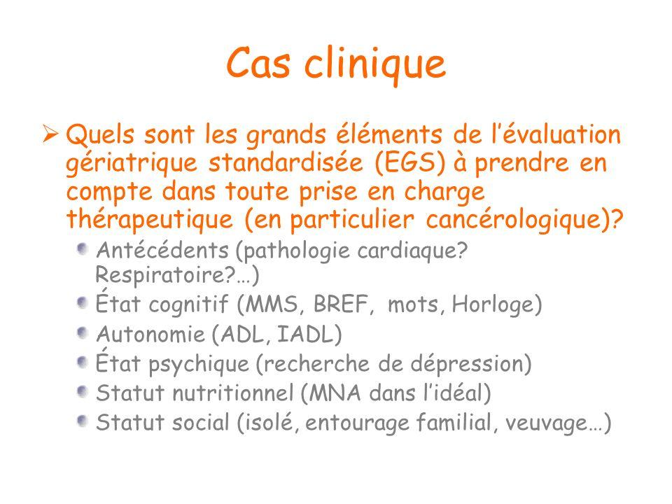 Cas clinique Quels sont les grands éléments de lévaluation gériatrique standardisée (EGS) à prendre en compte dans toute prise en charge thérapeutique