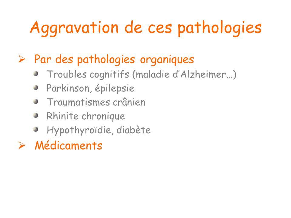 Aggravation de ces pathologies Par des pathologies organiques Troubles cognitifs (maladie dAlzheimer…) Parkinson, épilepsie Traumatismes crânien Rhini