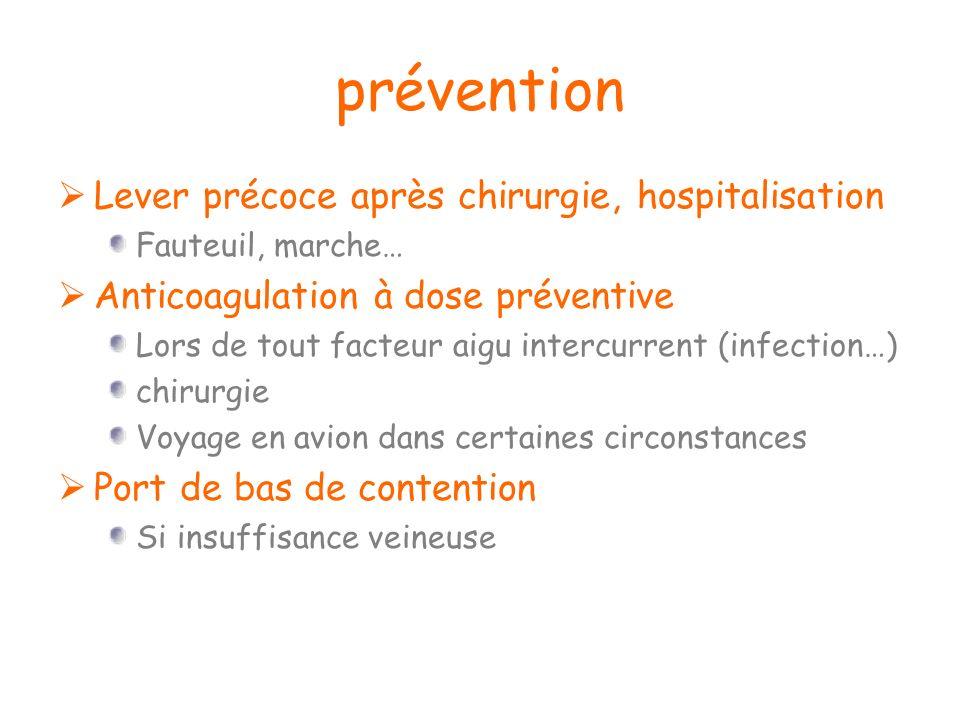 prévention Lever précoce après chirurgie, hospitalisation Fauteuil, marche… Anticoagulation à dose préventive Lors de tout facteur aigu intercurrent (