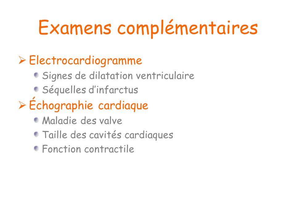 Examens complémentaires Electrocardiogramme Signes de dilatation ventriculaire Séquelles dinfarctus Échographie cardiaque Maladie des valve Taille des