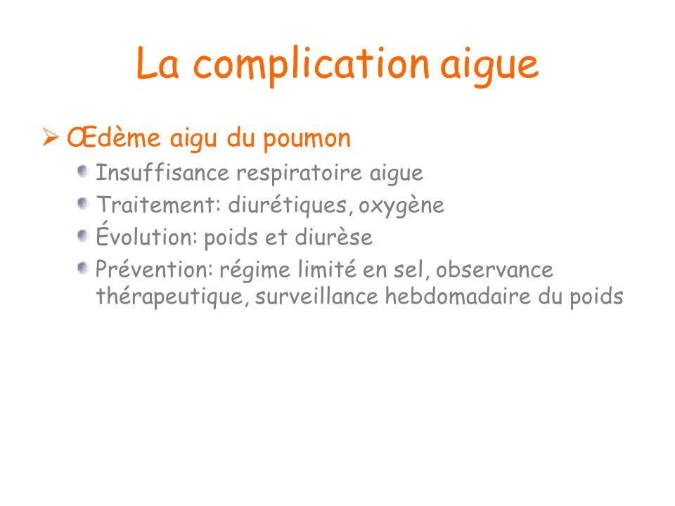 La complication aigue Œdème aigu du poumon Insuffisance respiratoire aigue Traitement: diurétiques, oxygène Évolution: poids et diurèse Prévention: ré