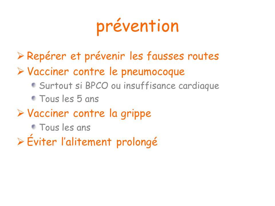 prévention Repérer et prévenir les fausses routes Vacciner contre le pneumocoque Surtout si BPCO ou insuffisance cardiaque Tous les 5 ans Vacciner con