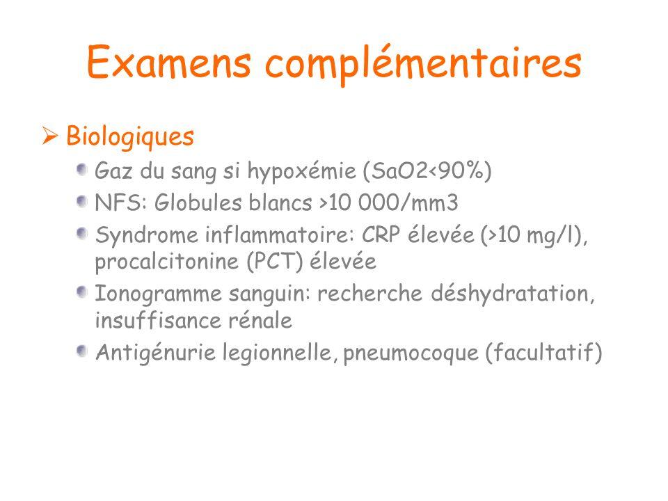 Examens complémentaires Biologiques Gaz du sang si hypoxémie (SaO2<90%) NFS: Globules blancs >10 000/mm3 Syndrome inflammatoire: CRP élevée (>10 mg/l)
