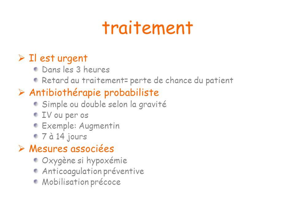 traitement Il est urgent Dans les 3 heures Retard au traitement= perte de chance du patient Antibiothérapie probabiliste Simple ou double selon la gra