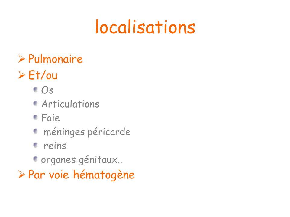 localisations Pulmonaire Et/ou Os Articulations Foie méninges péricarde reins organes génitaux.. Par voie hématogène